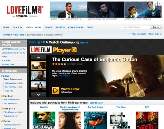 Lovefilm on the web