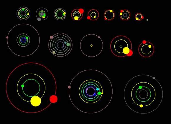 Orbital positions of the planets in systems with multiple transiting planets discovered by NASA's Kepler mission
