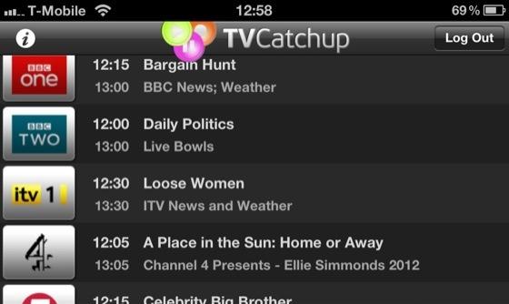 TVcatchup iOS app screenshot