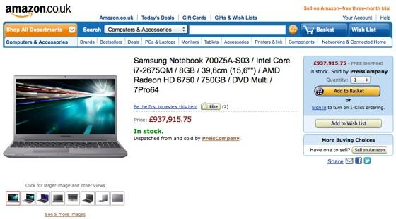 PreisCompany's pricey laptop on Amazon