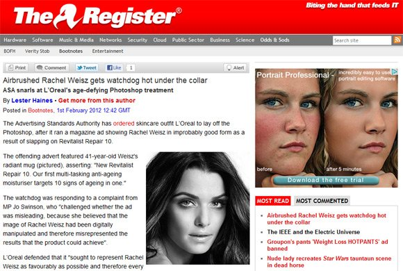 Screen grab of our Rachel Weisz story, showing Google ad for portrait retouching software