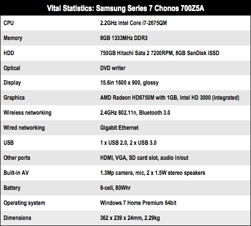 Samsung Series 7 Chonos Intel Core i7 notebook