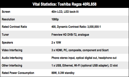Toshiba Regza 40RL858 LED Smart TV