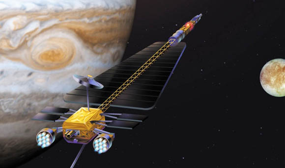 Nuclear fissionpowered spacecraft cruises by Jupiter