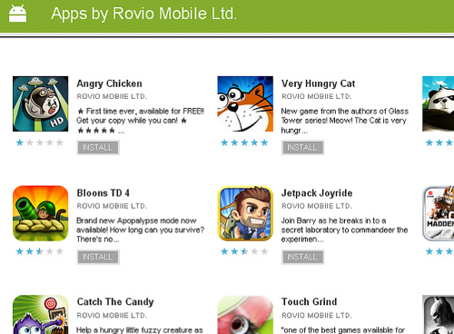 Applications uploaded to the Android Marketplace under a false name