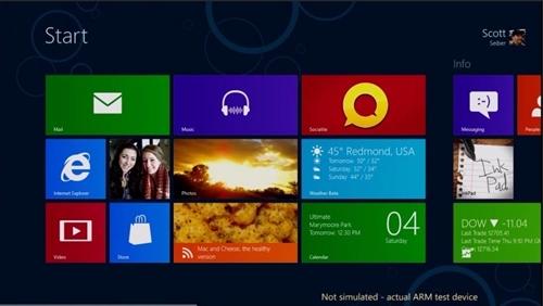 Metro interface on Windows On ARM