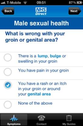 NHS Direct iOS app screenshot