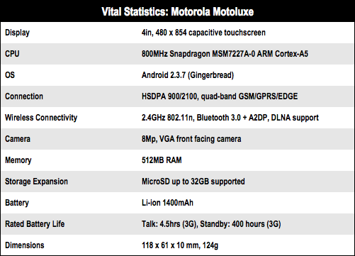Motorola Motoluxe Android smartphone