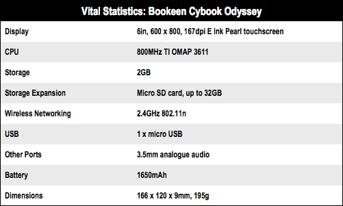 Bookeen Cybook Odyssey e-book reader specs
