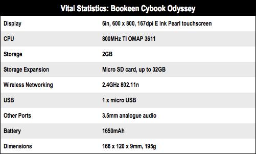 Bookeen Cybook Odyssey e-book reader specs
