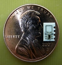 A fully wireless locomotive implant capable of moving at 0.53cm/s sitting on a penny
