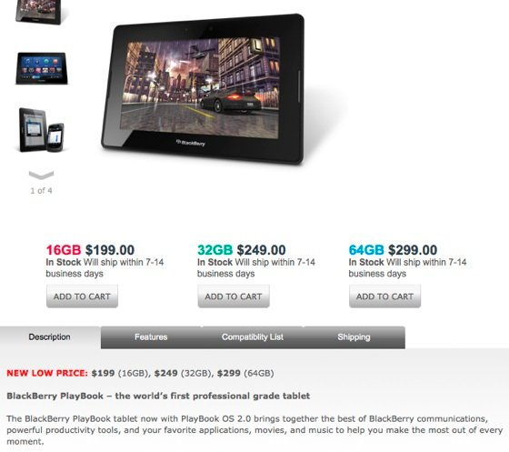 RIM BlackBerry PlayBook 'new' pricing