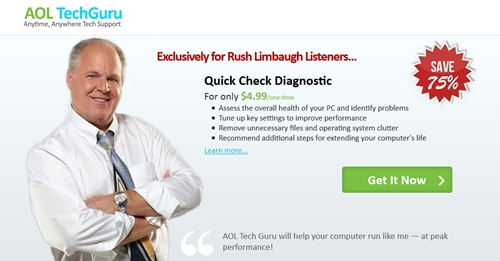 AOL advert on Rush Limbaugh