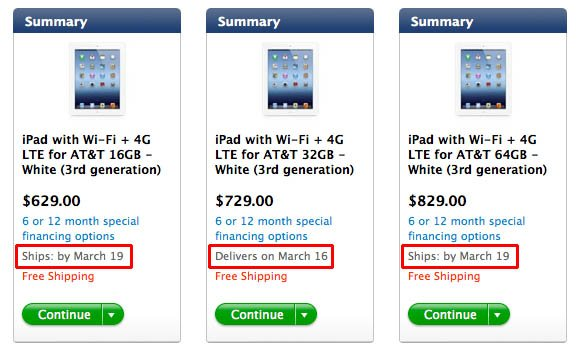 iPads backordered from AT&T