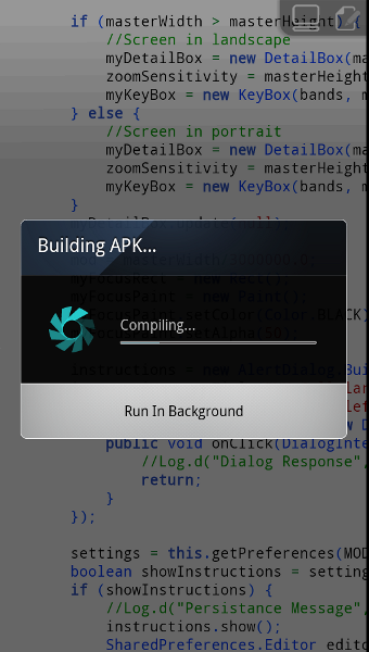 Screen shot showing Android app compiling