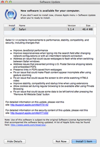 Safari 5.1.4 'Software Update' notice
