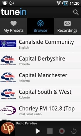 TuneIn Pro Android app screenshot