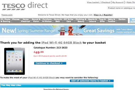 Tesco Apple iPad pricing error