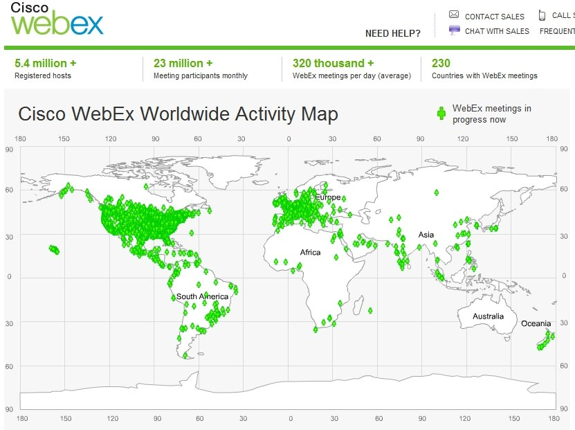 Cisco WebEx activity map