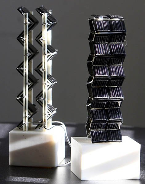 Two small-scale versions of three-dimensional photovoltaic arrays were among those tested by Jeffrey Grossman and his team on an MIT rooftop to measure their actual electrical output throughout the day.