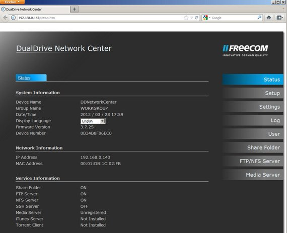 Freecom Dual Drive Network Centre dual-bay NAS drive