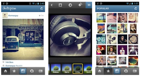 Instagram on Android, credit scree