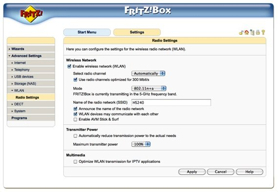 FritzBox radio settings