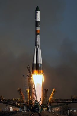 Russian Progress cargoship blasting off from Baikonur Cosmodrome