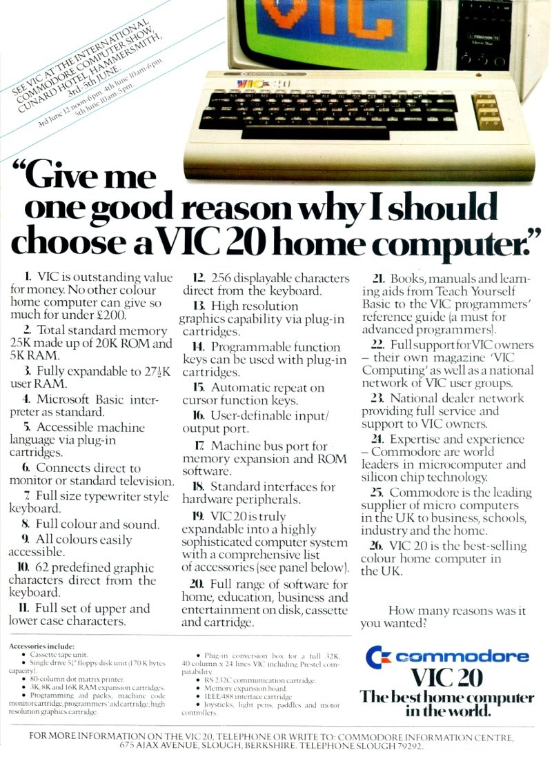 Commodore Vic-20 advert