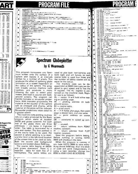 PCW Spectrum listing