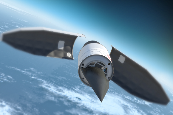 Concept art showing the HTV-2's fairing opening after ascent through the atmosphere. Credit: DARPA