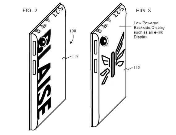 Microsoft patent for low powered backside display