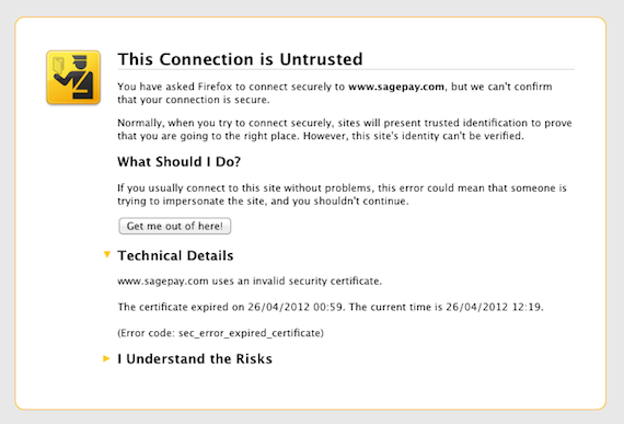 SSL certificate error message, credit: screengrab
