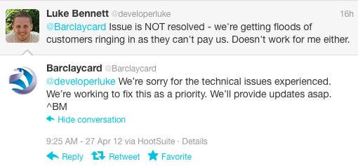 Barclaycard complaint on Twitter, screengrab