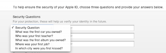 iTunes security question 1