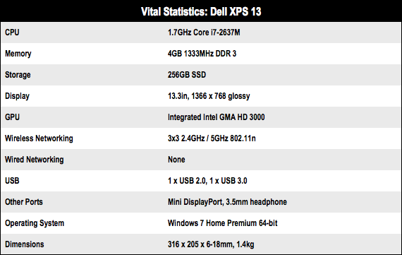 Dell XPS 13 Ultrabook specs