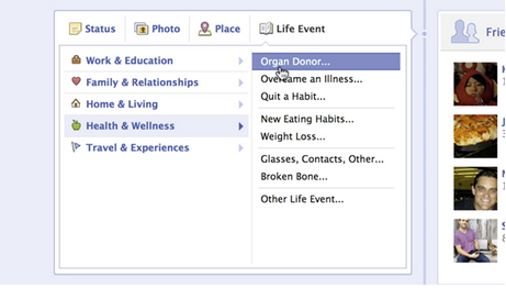 Facebook organ donor life event, screengrab Facebook