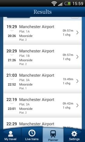 National Rail Enquiries Android app screenshot