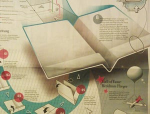 Paper aircraft instructions in this week's Die Zeit
