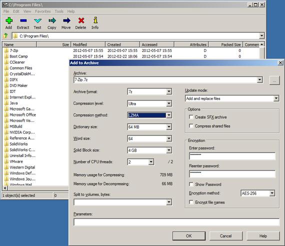 7-zip file compression utility