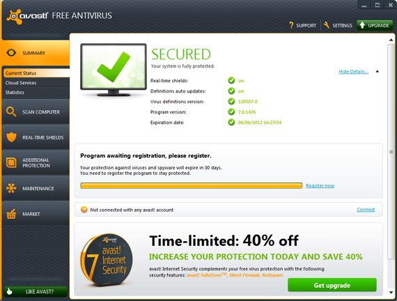 Avast! Free Anti-virus utility