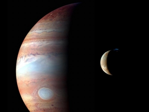 Jupiter and its volcanic moon Io