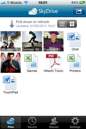 Skydrive iOS app screenshot
