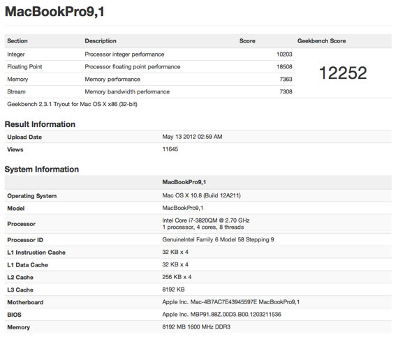 Geekbench MacBook Pro 9,1