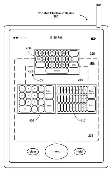 Apple soft-keyboard selection patent illustration