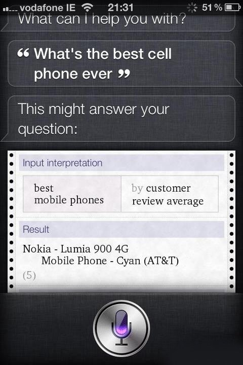 Siri suggests Nokia