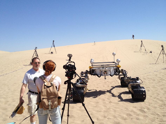 The Scarecrow stand-in (for the Curiosity Mars rover) in tests in the Mojave desert.