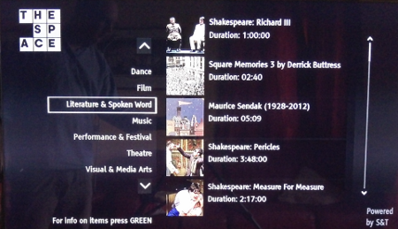 Screen shot of experimental channel The Space