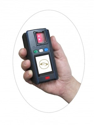 Fingerprint scanner, CREDIT: Metropolitan Police Press Office