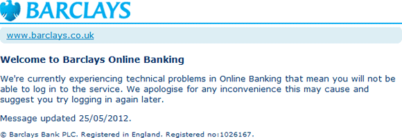 barclays online banking will writing service Barclays online banking is currently down after a score of users reported the service is currently not working as it should be.